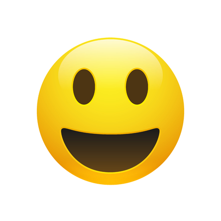 Vector Emoji yellow smiley face with eyes and mouth on white background. Funny cartoon Emoji icon. 3D illustration for chat or message.