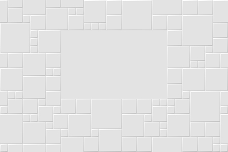 Vector white modern abstract background with light gray mat square tiles pattern. Seamless mosaic texture with space for text. Realistic 3d illustration.