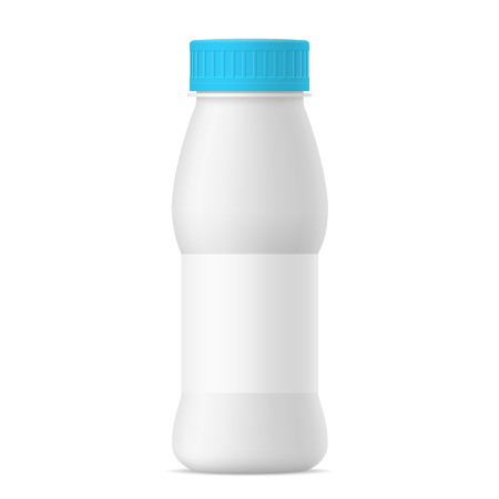 Vector mat white realistic yogurt bottle with blue cap and paper label. Milk, tea, juice or sour cream plastic pack on white background. 3d mock up for your design Illustration