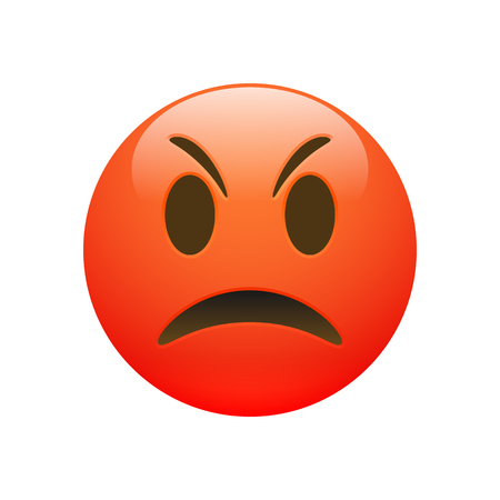Vector Emoji red angry sad face with eyes and mouth on white background. Funny cartoon Emoji icon. 3D illustration for chat or message. Illustration