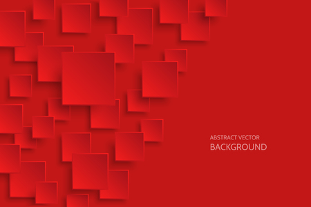 Vector dark red modern abstract background with sample text. Flying mat paper square pattern with soft shadows. Realistic 3d illustration.