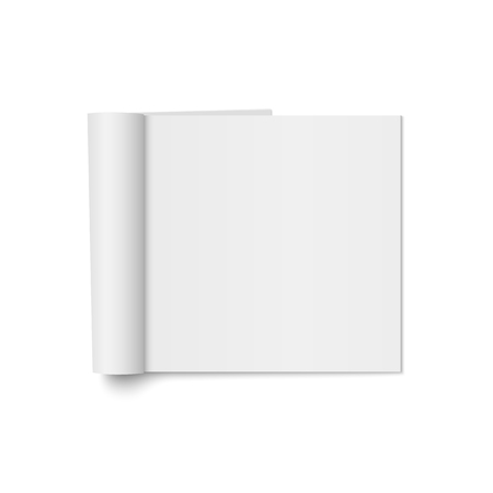 Vector mock up of realistic magazine with curled paperback isolated. Opened square booklet, brochure, menu or notebook template on white background. 3d illustration for your design