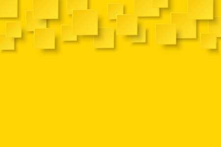 Vector yellow modern abstract background. Flying mat paper square pattern with soft shadows. Realistic 3d illustration.