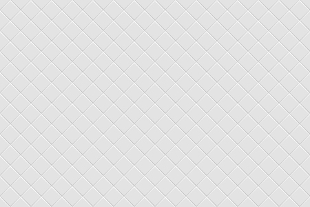 Vector white modern abstract background with light gray mat diagonal square tiles pattern. Seamless mosaic texture. Realistic 3d illustration.