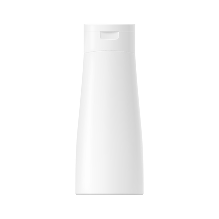 Realistic mock up of a package. Vector white glossy plastic bottle with cap for shampoo, cosmetics, body cream, skin care, gel, lotion and other. Front side view. 3D illustration. Illustration