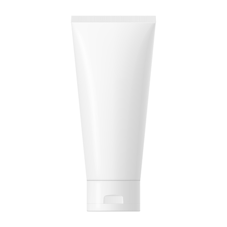 Realistic mock up of a package. Vector white glossy plastic tube with cap for cosmetics, body cream, skin care, gel, lotion, glue, toothpaste. Front side view. 3D illustration.