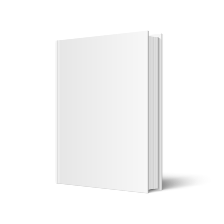 Vector mock up of standing book with white blank cover isolated. Closed vertical hardcover book, catalog or magazine mockup on white background. 3d illustration. Diminishing perspective. Illustration