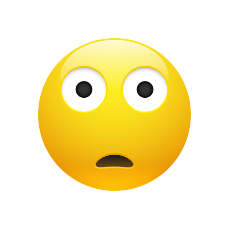 Vector Emoji yellow sad surprised face with eyes and mouth on white background. Funny cartoon Emoji icon. 3D illustration for chat or message.