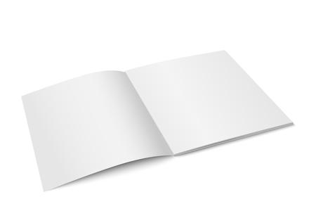 A Vector white mock up of magazine isolated. Opened square magazine on Diminishing perspective