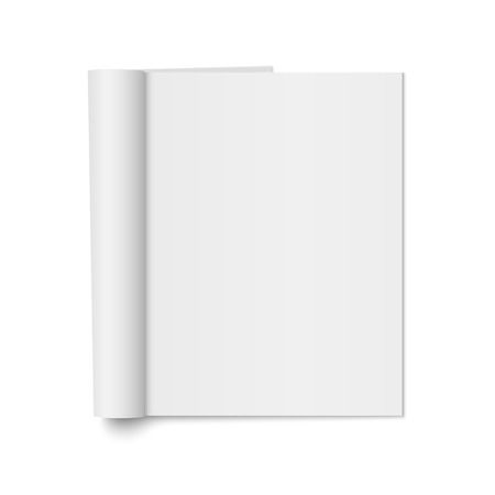 A Vector mock up of realistic magazine with curled paperback isolated. Opened vertical booklet on 3d illustration for your design