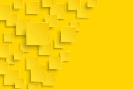 A Vector yellow modern abstract background. Flying mat paper square pattern with soft shadows. Realistic 3d illustration. Illustration