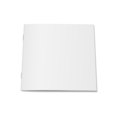 A Vector white mock up of magazine isolated. Closed square magazine on 3d illustration.