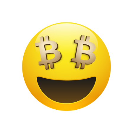 Glossy smiley emoticon with golden bitcoin sign eyes icon