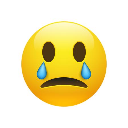 Yellow crying emoticon icon Illustration