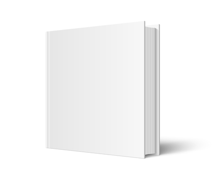 Vector mock up of standing book with white blank cover isolated. Closed square hardcover book, catalog or magazine mockup on white background. 3d illustration. Diminishing perspective.
