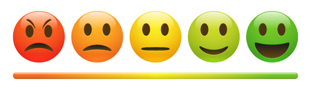Vector emotion feedback scale on white background. Angry, sad, neutral and happy emoticon set. Glossy red, orange, yellow and green funny cartoon Emoji icon. 3D illustration