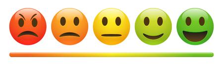 Vektor-Emotions-Rückkopplungsskala auf weißem Hintergrund. Wütendes, trauriges, neutrales und fröhliches Emoticon-Set. Glänzende rote, orange, gelbe und grüne lustige Karikatur-Emoji-Ikone. 3D-Illustration