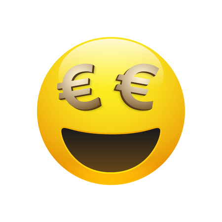 Vector yellow glossy smiley emoticon with golden euro sign eyes and mouth on white background. Funny cartoon Emoji icon. 3D illustration for chat or message.