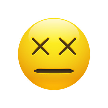 Vector yellow glossy dead emoticon with cross eyes and line mouth on white background. Funny cartoon Emoji icon. 3D illustration for chat or message. Illustration