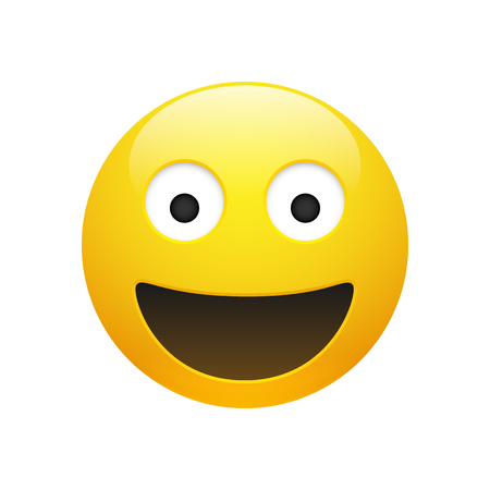 Vector Emoji yellow smiley face with eyes and mouth on white background. Funny cartoon emoticon icon. 3D illustration for chat or message. Illustration