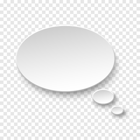 Vector white blank paper speech bubble on a transparent background.