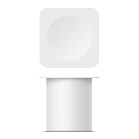 Mockup of a plastic yoghurt container with lid isolated on white background. Illustration