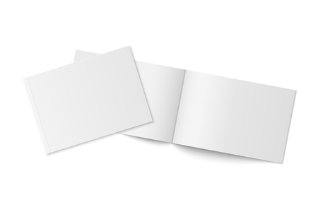 Vector mockup of two thin books with soft cover isolated.