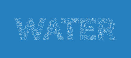 Text from droplets texture. Word Water. Illustration