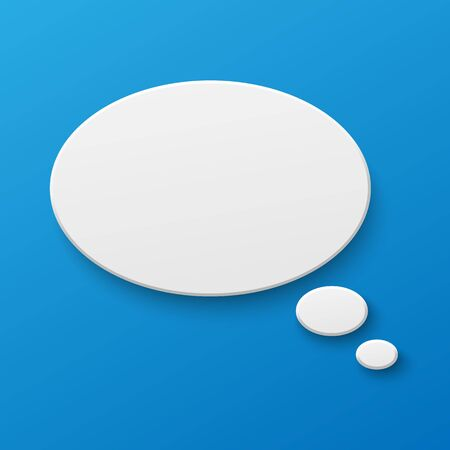 Vector white blank paper speech bubble on blue gradient background. Realistic 3d illustration. Oval shape. Template for your design.