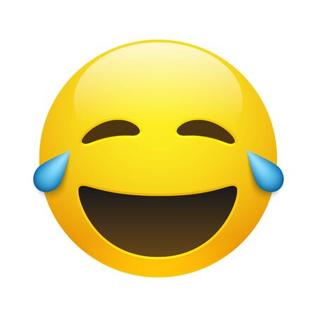 Vector yellow smiling and crying emoticon with closed eyes and mouth on white background. Glossy funny cartoon Emoji icon. 3D illustration for chat or message.