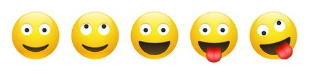 Set of vector yellow smiling, dreaming, insane, crazy emoticon with opened eyes on white background. Glossy funny cartoon Emoji icon collection. 3D illustration for chat or message. Illustration