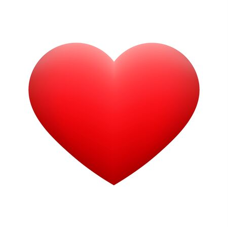 Vector red heart shape emoticon on white background. Glossy funny cartoon Emoji icon. 3D illustration for chat or message. Valentine Day card Illustration