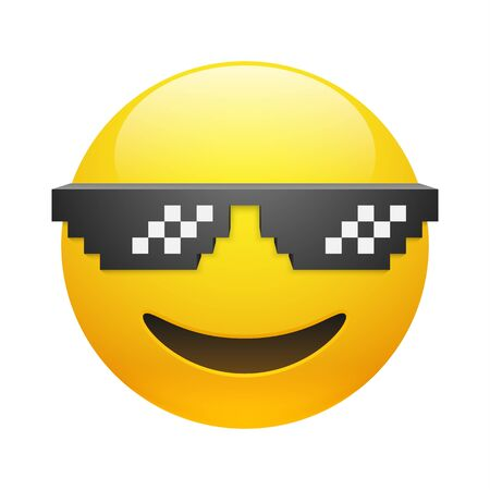 Vector yellow smiling emoticon with thug life pixel glasses on white background. Glossy funny cartoon Emoji icon. 3D illustration for chat or message. 矢量图像