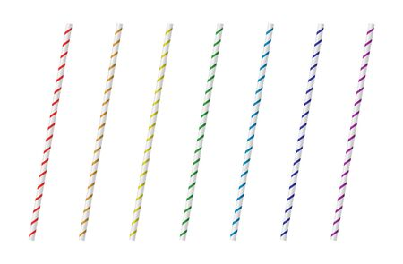 Vector realistic drinking straws for milk drinks, cocktails or alcohol. Set of white, red, orange, yellow, blue, green, purple drinking straws isolated. 3D template for design.
