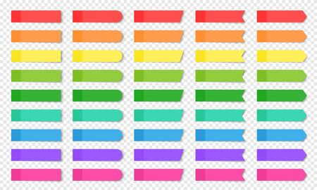 Colored realistic sticky notes isolated. Set of vector paper bookmarks of different shapes - rectangle, arrow, flag. Collection of red, orange, yellow, green, blue and purple post notes on background Stock fotó - 132637055