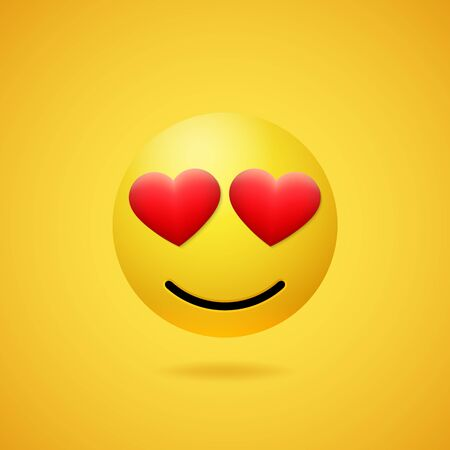 Emoticon in love with red heart shaped eyes and mouth on yellow gradient background. Vector funny yellow cartoon Emoji icon. 3D illustration for chat or message.