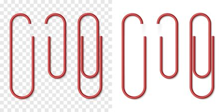 Vector set of red metallic realistic paper clip on white and transparent background. Plastic paperclips with soft shadow. 3D template for your design