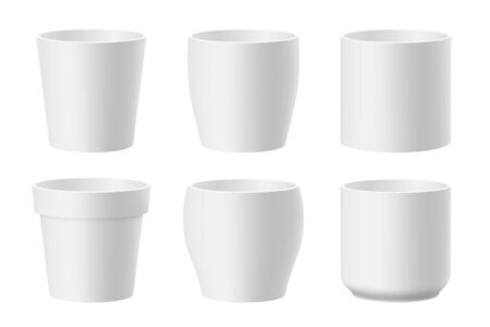 Vector set of realistic white flower pots isolated on white background. Pots of different shapes. 3D illustration 矢量图像