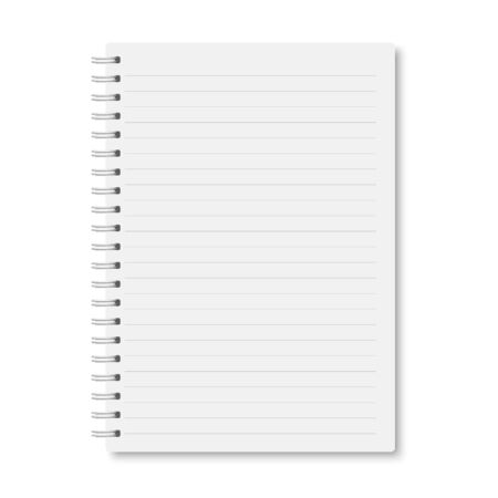 White realistic a5 notebook closed with soft shadows. Vector vertical blank copybook with metallic white spiral on white background. Mock up of horizontal lined organizer or diary isolated. Ilustrace