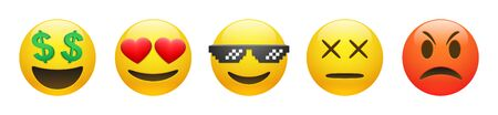 Set of vector yellow rich, dead, angry, thug life emoticon and emoticon in love with heart eyes on white 矢量图像