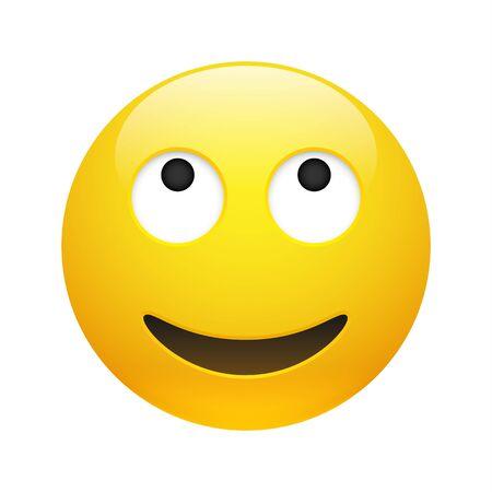 Vektorgelbes lächelndes träumendes Emoticon mit geöffneten Augen und Mund auf Weiß