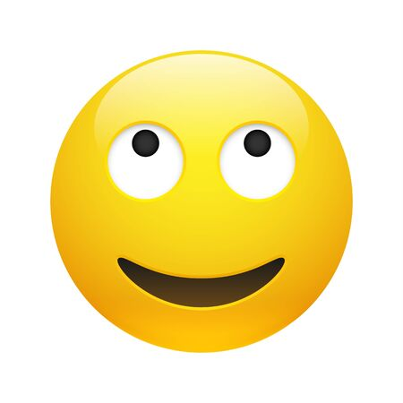 Wektor żółty uśmiechający się sen emotikon z otwartymi oczami i ustami na białym