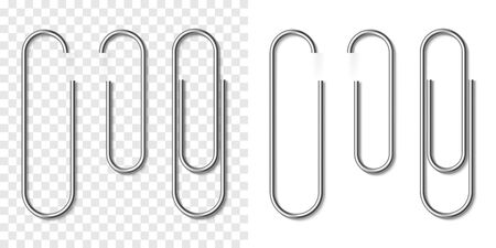 Vector set of silver metallic realistic paper clip on white and transparent background. Plastic paperclips with soft shadow. 3D template for your design 矢量图像