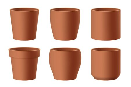 Vector set of realistic brown ceramic flower pots isolated on white background. Pots of different shapes. 3D illustration
