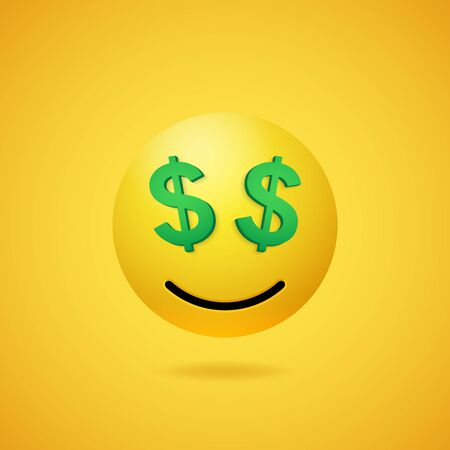 Smiling rich emoticon with dollar sign eyes and mouth on yellow gradient background. Vector funny yellow cartoon Emoji icon. 3D illustration for chat or message.