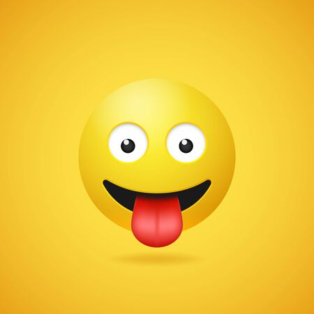 Happy smiling emoticon with stuck out tongue on yellow gradient background. Vector funny yellow cartoon Emoji icon. 3D illustration for chat or message.