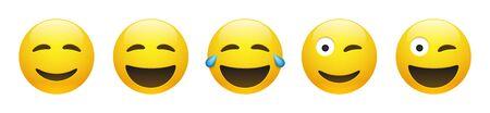 Conjunto de emoticon sonriente feliz amarillo vector con ojos entrecerrados, guiñando un ojo y emoticon sonriente con lágrimas de alegría sobre fondo blanco. Colección de iconos de Emoji de dibujos animados divertidos brillantes con emociones positivas.