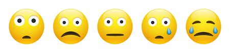 Set of vector yellow unhappy sad, astonished, neutral and crying emoticon with squinting eyes on white background. Glossy funny cartoon Emoji icon collection with negative emotions. 3D illustration