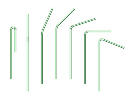 Vector realistic drinking straws striped for milk drinks, cocktails or alcohol. Set of white-green drinking straws isolated with various bends. 3D template for design.