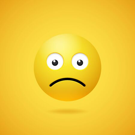 Unhappy sad emoticon with opened eyes and mouth on yellow gradient background. Vector funny yellow cartoon Emoji icon. 3D illustration for chat or message. 矢量图像